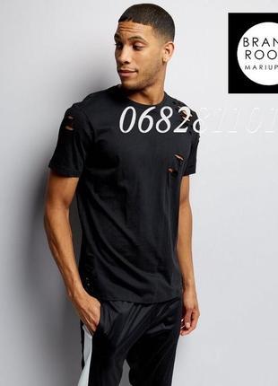 Актуальная мужская футболка рваная оверсайз, чёрная