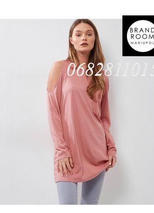 Стильное трикотажное платье футболка с открытым плечом, туника...