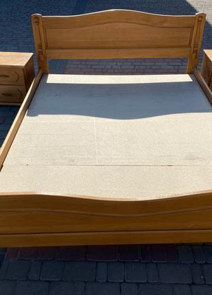 Кровать двоспальная 2 х 1.60м бук + тумбочки (ліжко двоспальне)
