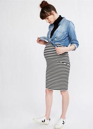 Трикотажная юбка для беременных, в полоску
