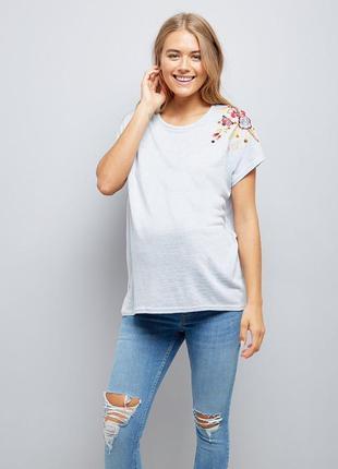 Футболка для беременных, блуза с вышивкой