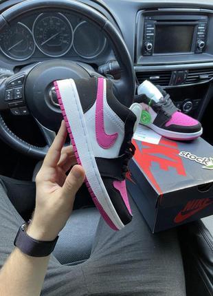 Женские кроссовки🔺nike air jordan 1 low black pink white🔺