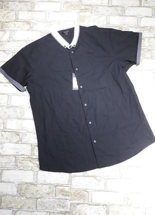 Стильная рубашка с белым воротником, с отворотами на рукававах