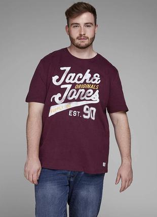 Стильная бордовая футболка с фирменным принтом jack &jones ori...