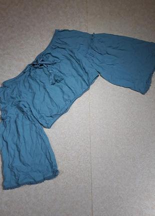 Блуза короткая, топ с расклешенным рукавом
