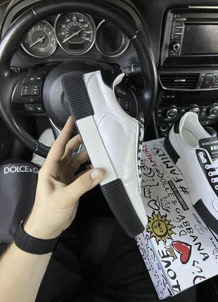 Мужские кожаные кроссовки 🔺d&g miami sneakers🔺