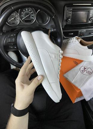 Мужские кожаные кроссовки 🔺hermes shoes white🔺