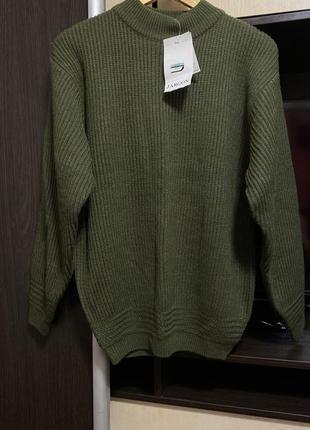 Стильный тёплый свитер хаки oversize раз.м