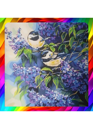 "Картина краски ""Птички на ветках сирени"""