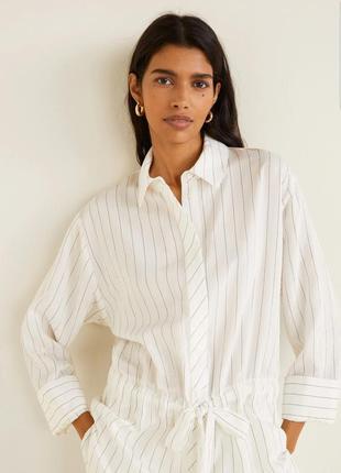 Удлинённая блуза, рубашка, туника mango в полоску.