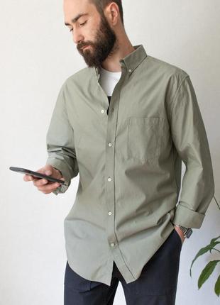 Шикарная рубашка из плотного хлопка оливкового цвета от h&m
