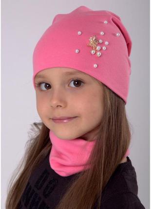 Трикотажный комплект шапка для девочки от 4 лет 52 54 55