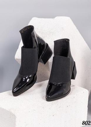 ❤ женские черные кожаные осенние демисезонные  ботинки ботильо...