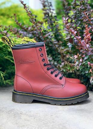 Dr. martens 1460 cherry женские кожаные ботинки бордового цвет...