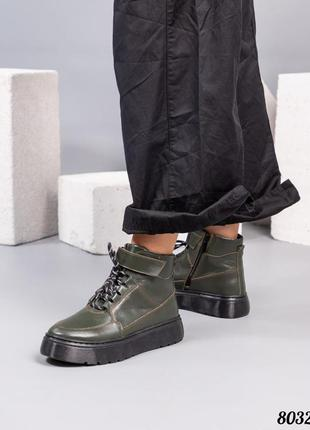 ❤ женские оливковые кожаные осенние демисезонные  ботинки боти...