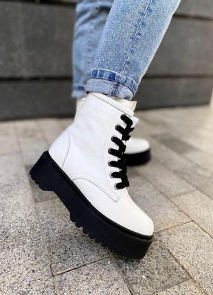 ❤ женские белые кожаные осенние демисезонные ботинки ботильоны ❤