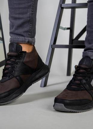 Ботинки мужские из нубука коричневые зимние