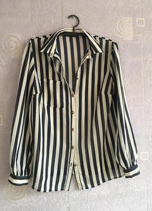 Красивая рубашка блуза шифон в полоску вертикальную