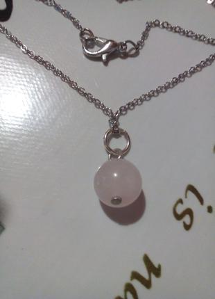 Новый кулон розовый кварц натуральный камнь подарок девушке
