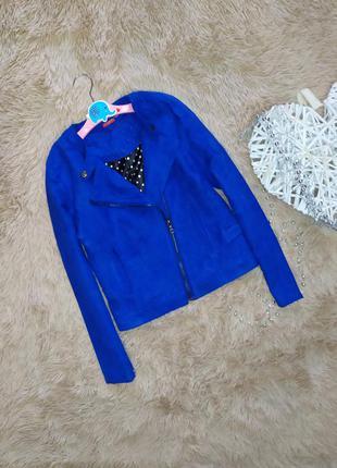 10-12 лет легкая куртка косуха из исскуственной замши tissaia
