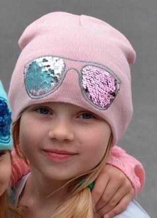 Детская демисезонная шапка для девочки с пайетками от 3 лет 50...