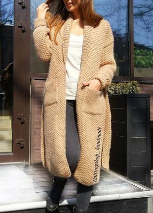 Теплый вязаный кардиган пальто соты ручной работы