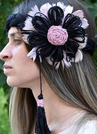 Черный венок на голову венок для волос украинский венок вінок ...