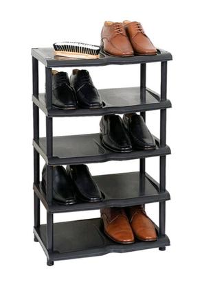 Обувная подставка на 5 ярусов полка этажерка стеллаж черная