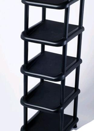 Полка для обуви узкая черная и коричневая на 5 ярусов этажерка