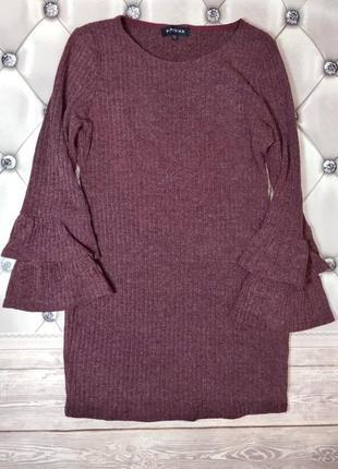 Платье в рубчик / меланж / рукава воланы / расклешенные / марс...