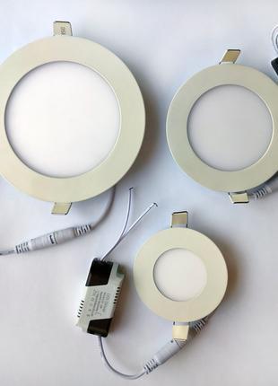 Встраиваемые круглые светильники, led-панели, 3W, 6W, 9W, 18W, 24