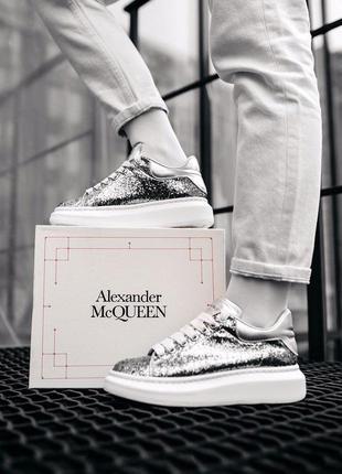Кросівки mcqueen leather-trimmed glitter кроссовки