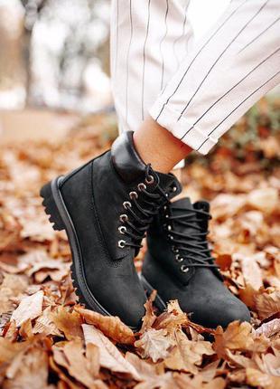 Ботинки timberland black термо черевики