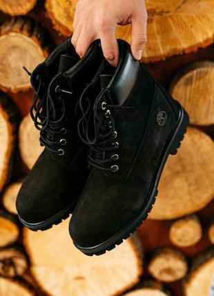 Черевики timberland black хутро ботинки