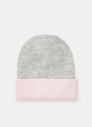 Новая женская двухцветная светлая серая шапка розовый отворот ...