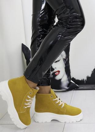 Новые женские осенние горчичные ботинки