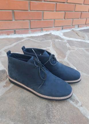 Синие нубуковые демисезонные ботинки,хайтопы PIERRE CARDIN