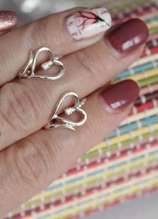 Набор серебро 925 серьги и кольцо сердце чер039