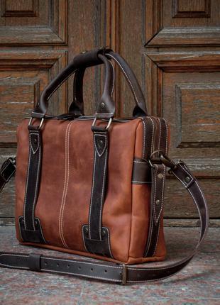 Кожаная сумка для ноутбука. Деловая мужская сумка для документов
