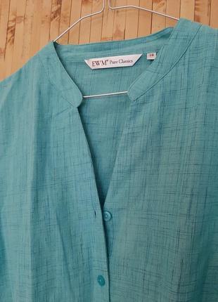 Бирюзовая блузка коттон  рубашка большой размер