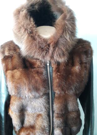 Кожаный пуховик с норкой дутик куртка с норкой кожа