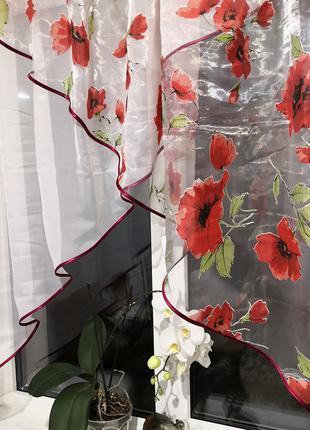 Занавеска штора тюль два угла маки