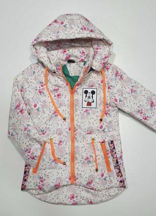 Куртка курточка пальто для девочки розы синтепон