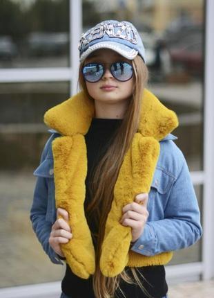 Джинсовая стильная курточка трансформер на девочку-подростка с...