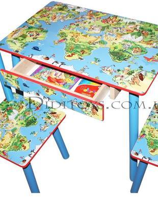 Детский столик Карта мира ( варианты) 1-7 лет + Ящик
