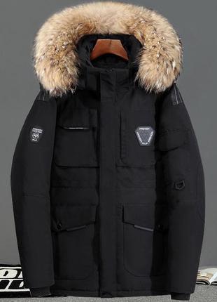 Мужская зимняя куртка пуховик аляска nf, чёрная. размер 46-52