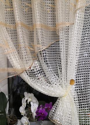 Занавеска штора тюль крупная сетка уголок полоска