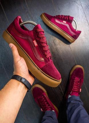 Бордовые винно красные кроссовки вансы кеды туфли