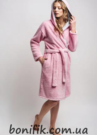 Тёплый женский халат с капюшоном на поясе арт. LDG 071/001