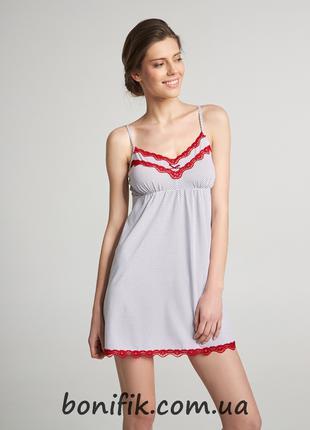 Женская ночная сорочка в горошек (размер XS, L) арт. LND 201/003